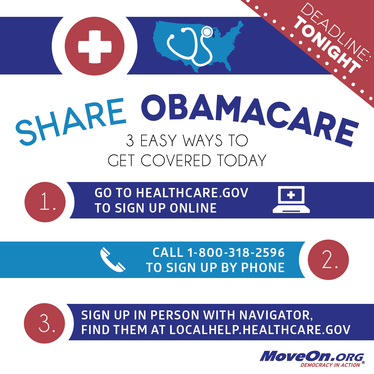 Share the three ways to signup for Obamacare today