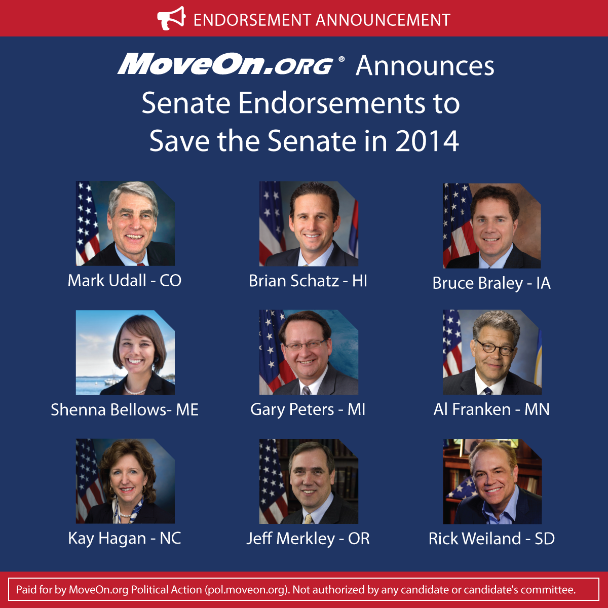 MoveOn 2014 Senate Endorsements