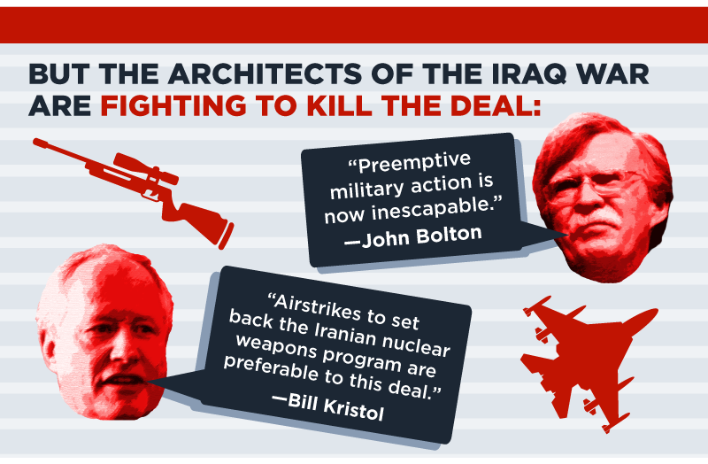 But the architects of the Iraq War are fighting to kill   the deal. John Bolton says, 'Preemptive military action is now inescapable' and Bill Kristol says, 'Airstrikes to set back   the Iranian nuclear weapons program are preferable to this deal.'