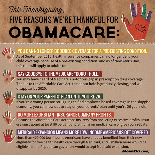 5 reasons to be thankful for Obamacare