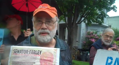 Members rally outside Senator Farley's office