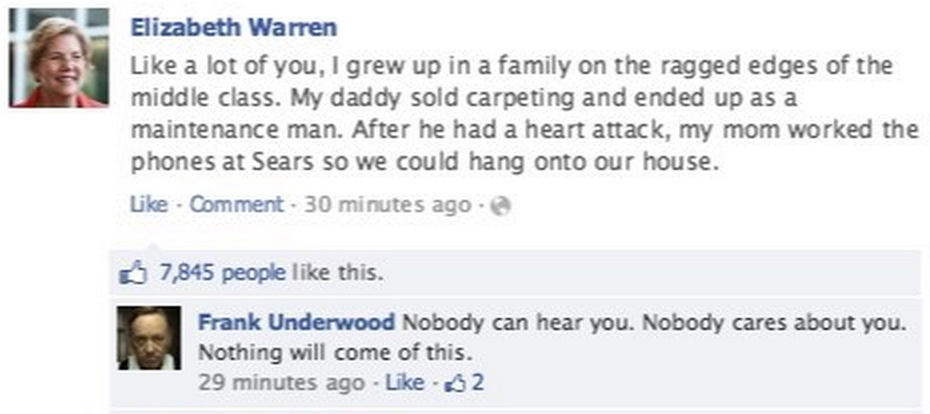 Frank Underwood Goes Trolling On Facebook And We Can't Get Enough