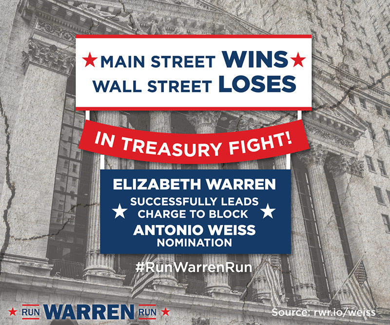 Elizabeth Warren wins in Treasury fight!