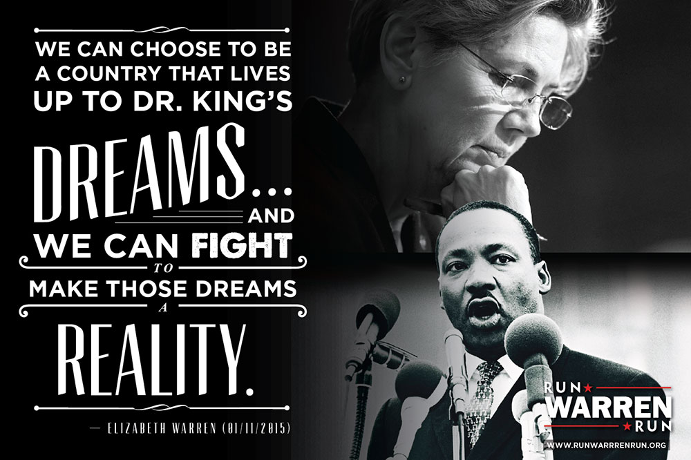 Elizabeth Warren received the Dr. Martin Luther King, Jr. Leadership Award at Twelfth Baptist Church.