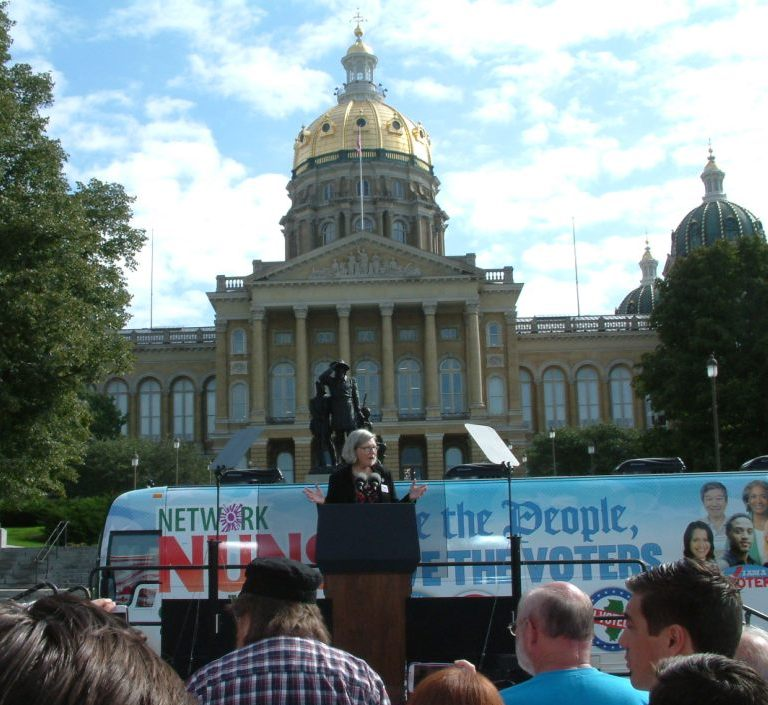 Sister Simone Campbell at We The People, We the Voters   bus tour stop
