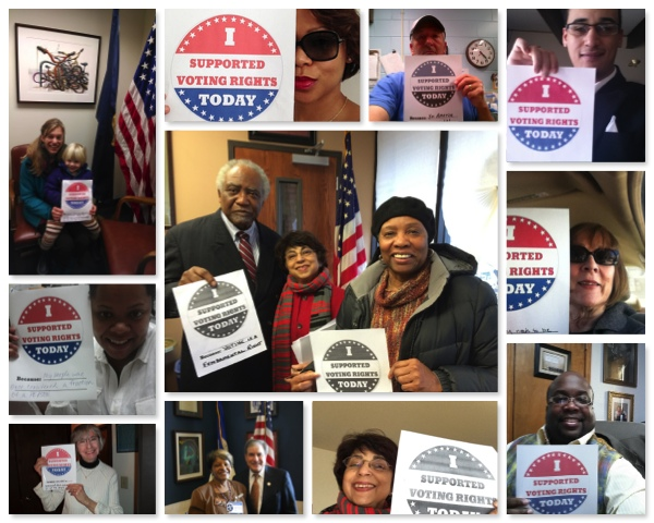 MoveOn members visiting local congressional offices to show support for voting rights.